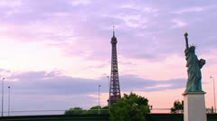Statue of liberty Boats from the Seine River in Paris. 3 views. Stock Footage