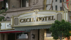 Cecil Hotel Entrance - stock footage
