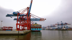 Storage Containers being loaded onto vessel in time lapse Stock Footage