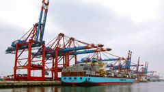 Container ship being loaded in Hamburg harbor Stock Footage