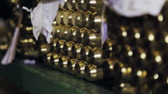 Thick brass bars in factory Stock Footage