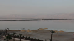 Dead sea and hotel beach Stock Footage