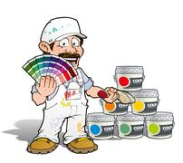 handyman - colour picking painter - white - stock illustration