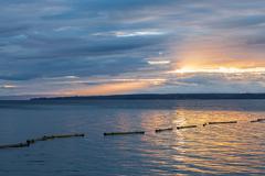 Sunrise Lake Geneva - stock photo
