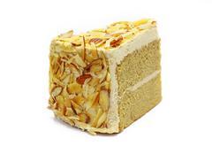 almond mocha cake isolated on white - stock photo