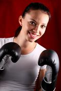 Young woman boxing Stock Photos