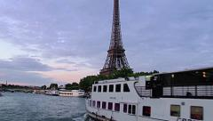 Stock Video Footage of Paris Effel tower from a boat on the Seine river in Paris