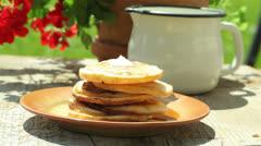 Garden breakfast - stock footage
