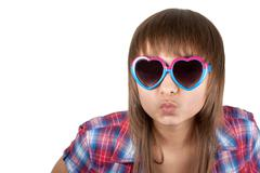 portrait beautiful girl in sunglasseses - stock photo