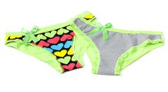 two green feminine panties - stock photo
