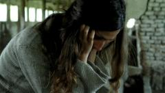 Depression Girl Suffering Mental Disorder Concept HD - stock footage