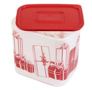 plastic container with red lid - stock photo