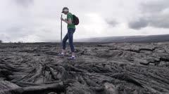 Kilauea, hiker woman - stock footage