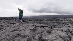 Kilauea, rough hiking - stock footage