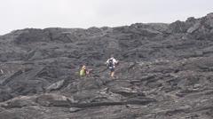 Kilauea, hikers Stock Footage