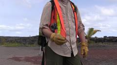 Kilauea, geologist - stock footage