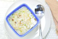 rice gruel in bowl - stock photo