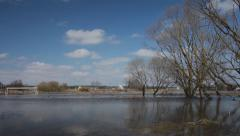 Flooding in the Russian village. Panorama view. Stock Footage
