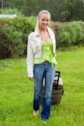 Girl with valise.travel Stock Photos