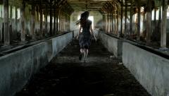 Young Woman Running Toward Safety Salvation Religion Concept Background HD - stock footage