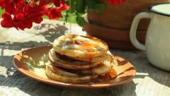 Breakfast in a garden - stock footage