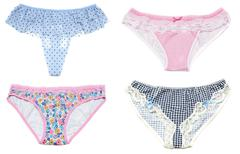 collage feminine panties with pattern on white background - stock photo