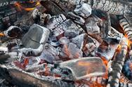 Campfire burning coal Stock Photos