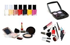 Collage varnish for nail and set for make-up Stock Photos