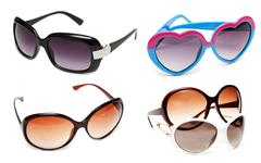 collage sunglasses on white background - stock photo
