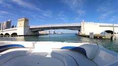 Drawbridge on Venetian Causeway, Biscayne Bay, Florida, USA Stock Footage