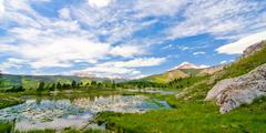 beaver lagoon in the san juan mountains in colorado - stock photo