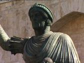 Stock Video Footage of BARLETTA Colossus bronze statue tilt