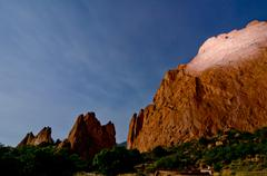 Nighttime shot of the rock formations at garden of the gods in colorado sprin Stock Photos