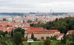 view of prague from the top - stock photo