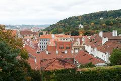 tile roofs of the prague - stock photo