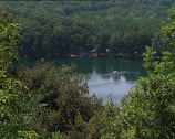 Stock Video Footage of MONTICCHIO lake with paddle boats
