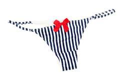 striped blue feminine panties - stock photo