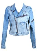 Jeans jacket in zipper Stock Photos