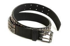 black leather belt with steel buckle - stock photo