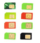 Eight colorful sim card on a white background Stock Photos