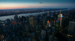 Panoramic View of Illuminated Skyscrapers and Hudson River, New York - stock footage