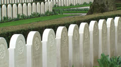 Rows of headstones at Military War Cemetery Grebbeberg - pan 09 Stock Footage
