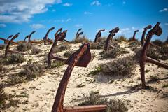 cemetery of the old anchors, portugal ocean coast - stock photo
