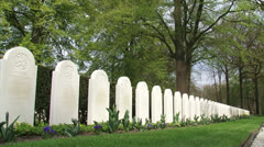 Rows of headstones at Military War Cemetery Grebbeberg - low angle + zoom in Stock Footage