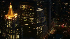 Illuminated Skyscrapers seen from the Empire State Building, New York, USA Stock Footage