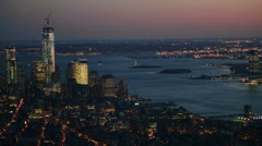 Panoramic View of Illuminated Skyscrapers and Hudson River, New York Stock Footage