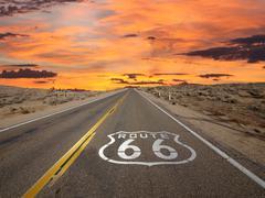 Route 66 mojave desert storm sky Stock Photos
