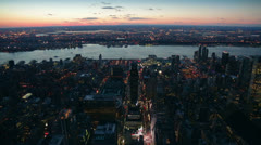 Panoramic View from the Empire State Building at Sunset, New York Stock Footage