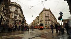 People walking in Milan Time Lapse Stock Footage