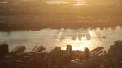 Sunset on Hudson River seen from the Empire State Building, New York Stock Footage